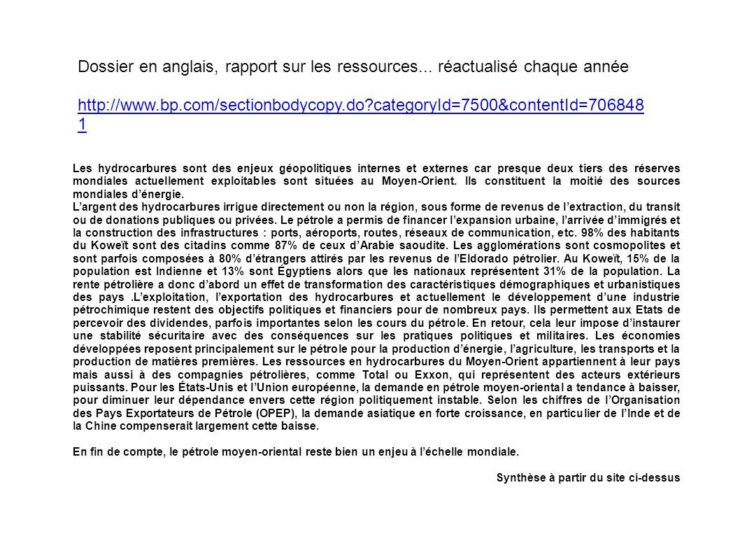 Dossier en anglais, rapport sur les ressources...