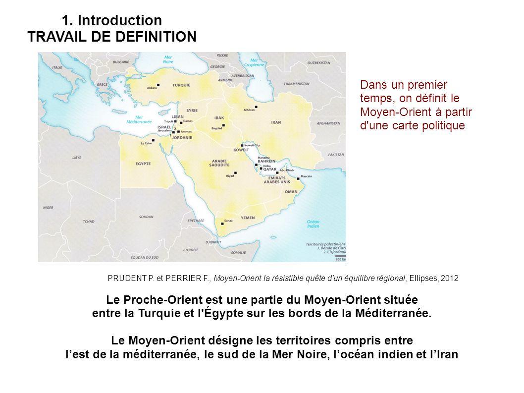 1. Introduction TRAVAIL DE DEFINITION Le Proche-Orient est une partie du Moyen-Orient située entre la Turquie et l'Égypte sur les bords de la Méditerr
