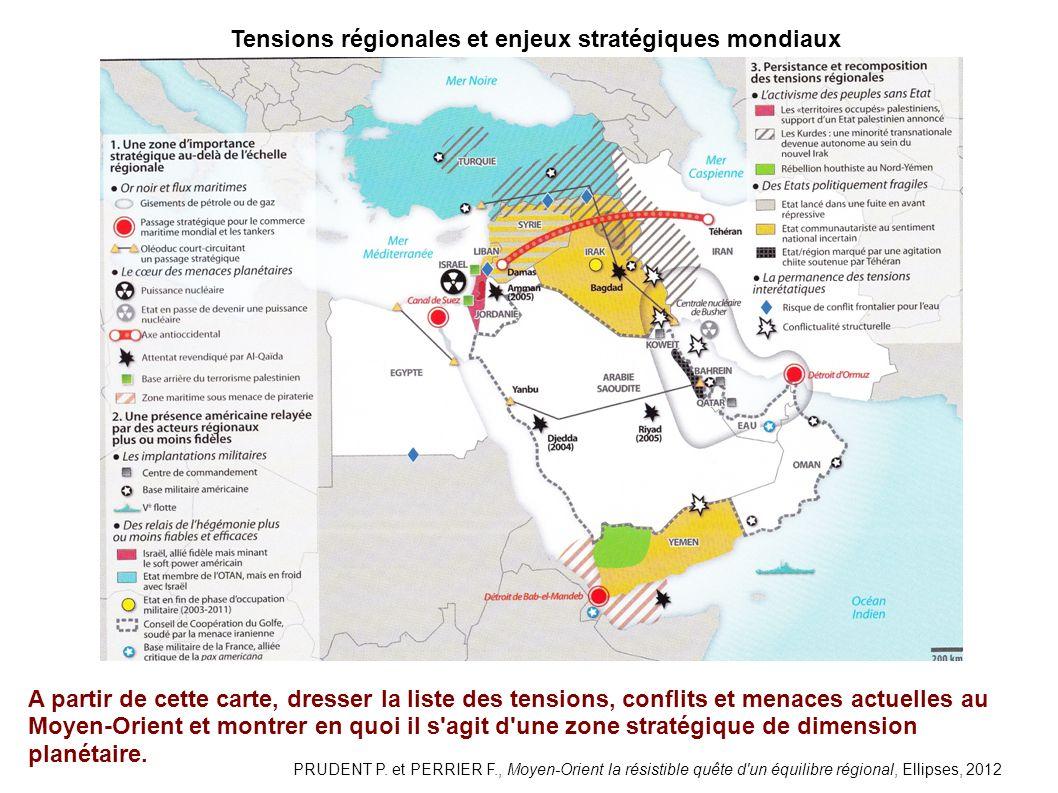 Tensions régionales et enjeux stratégiques mondiaux A partir de cette carte, dresser la liste des tensions, conflits et menaces actuelles au Moyen-Orient et montrer en quoi il s agit d une zone stratégique de dimension planétaire.