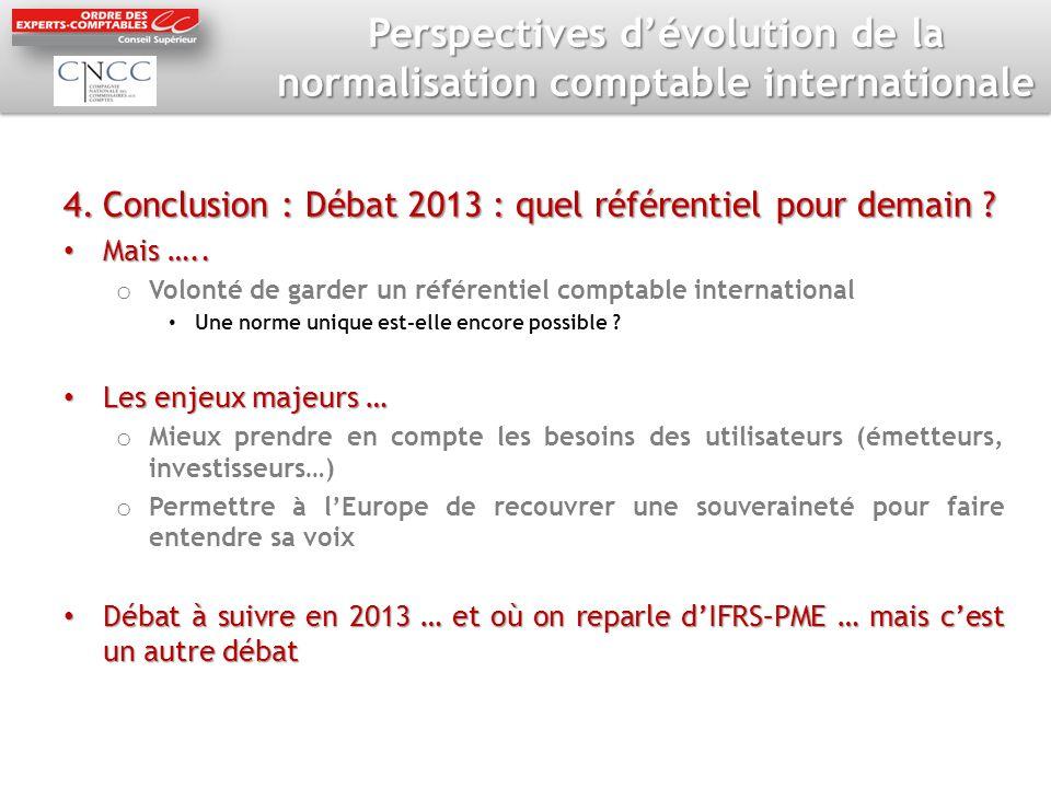 Perspectives dévolution de la normalisation comptable internationale 4.Conclusion : Débat 2013 : quel référentiel pour demain .