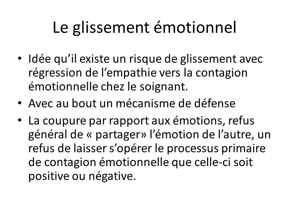Le glissement émotionnel Idée quil existe un risque de glissement avec régression de lempathie vers la contagion émotionnelle chez le soignant. Avec a