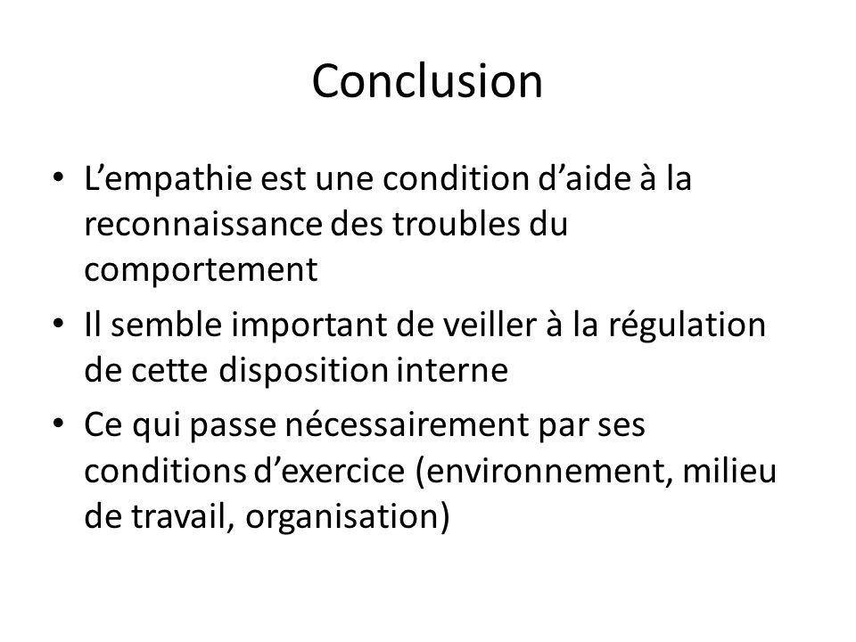 Conclusion Lempathie est une condition daide à la reconnaissance des troubles du comportement Il semble important de veiller à la régulation de cette
