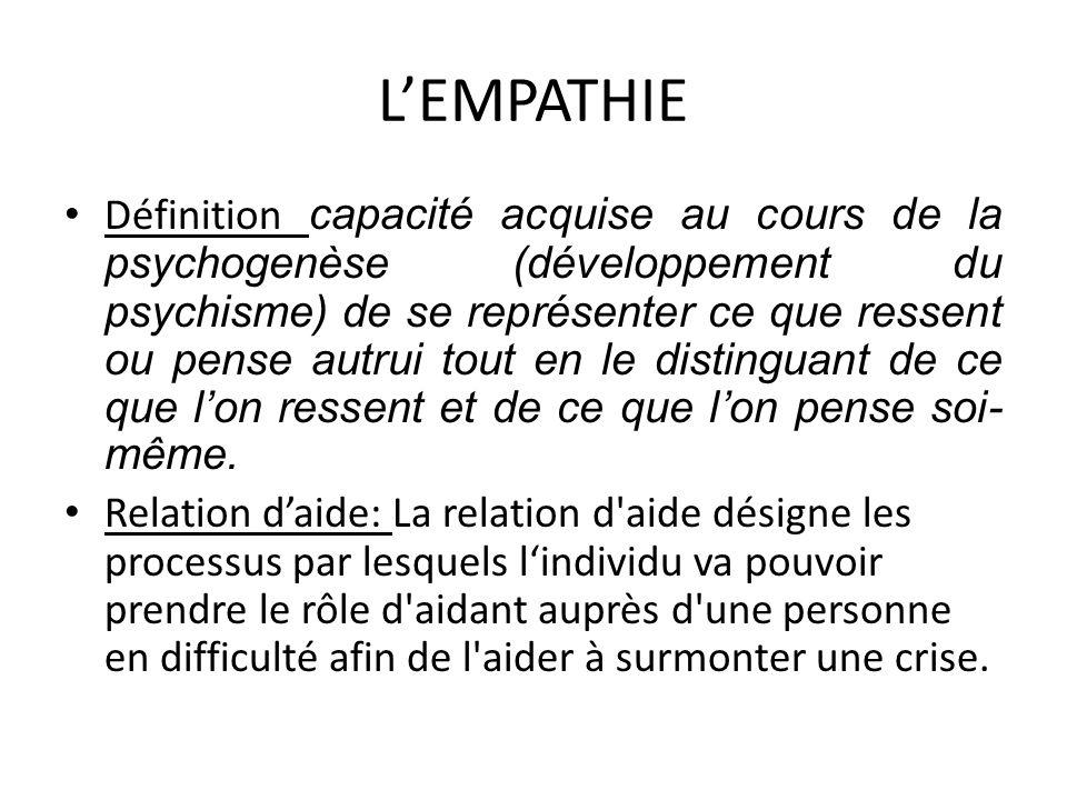 LEMPATHIE Définition capacité acquise au cours de la psychogenèse (développement du psychisme) de se représenter ce que ressent ou pense autrui tout e