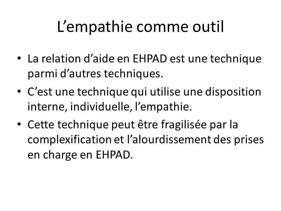 Lempathie comme outil La relation daide en EHPAD est une technique parmi dautres techniques. Cest une technique qui utilise une disposition interne, i