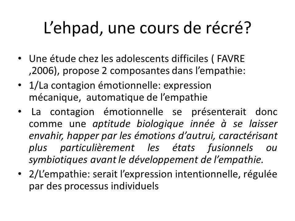 Lehpad, une cours de récré? Une étude chez les adolescents difficiles ( FAVRE,2006), propose 2 composantes dans lempathie: 1/La contagion émotionnelle