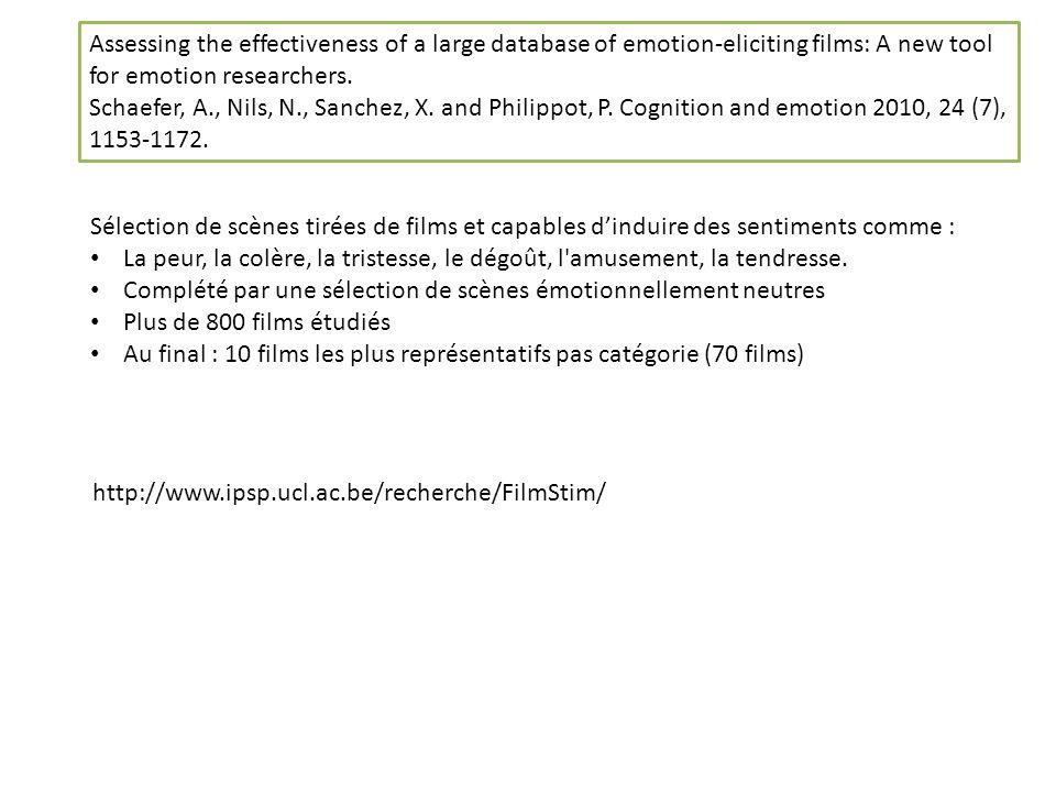Sélection de scènes tirées de films et capables dinduire des sentiments comme : La peur, la colère, la tristesse, le dégoût, l amusement, la tendresse.