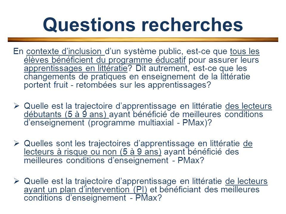 Questions recherches En contexte dinclusion dun système public, est-ce que tous les élèves bénéficient du programme éducatif pour assurer leurs apprentissages en littératie.