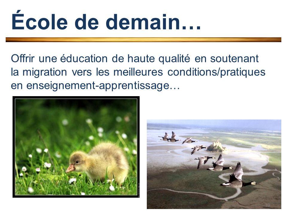 École de demain… Offrir une éducation de haute qualité en soutenant la migration vers les meilleures conditions/pratiques en enseignement-apprentissage… 39