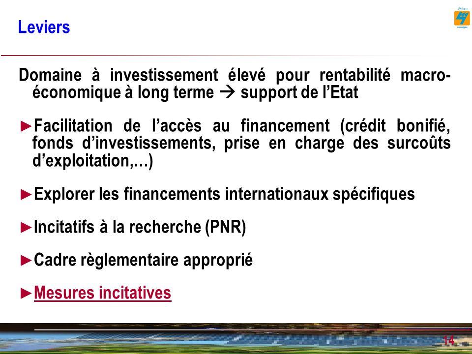 14 Leviers Domaine à investissement élevé pour rentabilité macro- économique à long terme support de lEtat Facilitation de laccès au financement (crédit bonifié, fonds dinvestissements, prise en charge des surcoûts dexploitation,…) Explorer les financements internationaux spécifiques Incitatifs à la recherche (PNR) Cadre règlementaire approprié Mesures incitatives Mesures incitatives