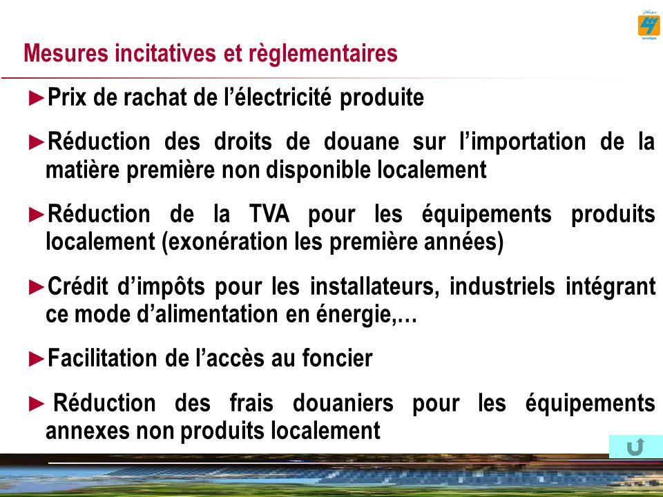 Mesures incitatives et règlementaires Prix de rachat de lélectricité produite Réduction des droits de douane sur limportation de la matière première non disponible localement Réduction de la TVA pour les équipements produits localement (exonération les première années) Crédit dimpôts pour les installateurs, industriels intégrant ce mode dalimentation en énergie,… Facilitation de laccès au foncier Réduction des frais douaniers pour les équipements annexes non produits localement