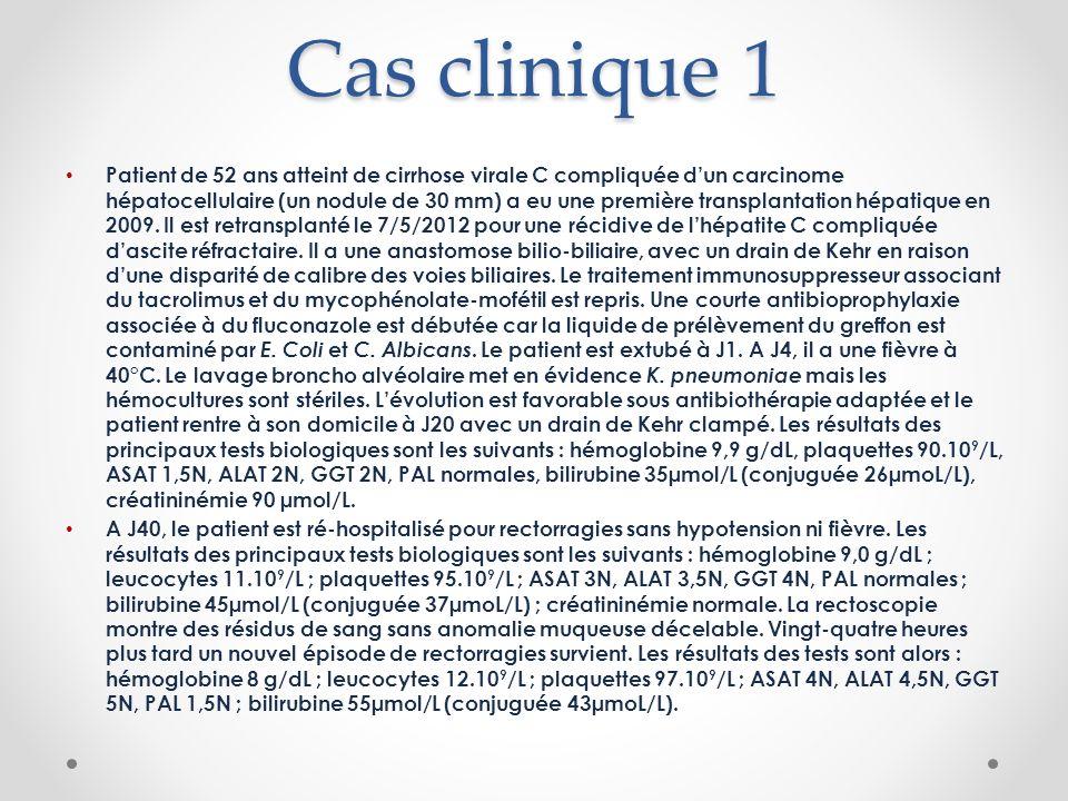 Cas clinique 1 Patient de 52 ans atteint de cirrhose virale C compliquée dun carcinome hépatocellulaire (un nodule de 30 mm) a eu une première transplantation hépatique en 2009.