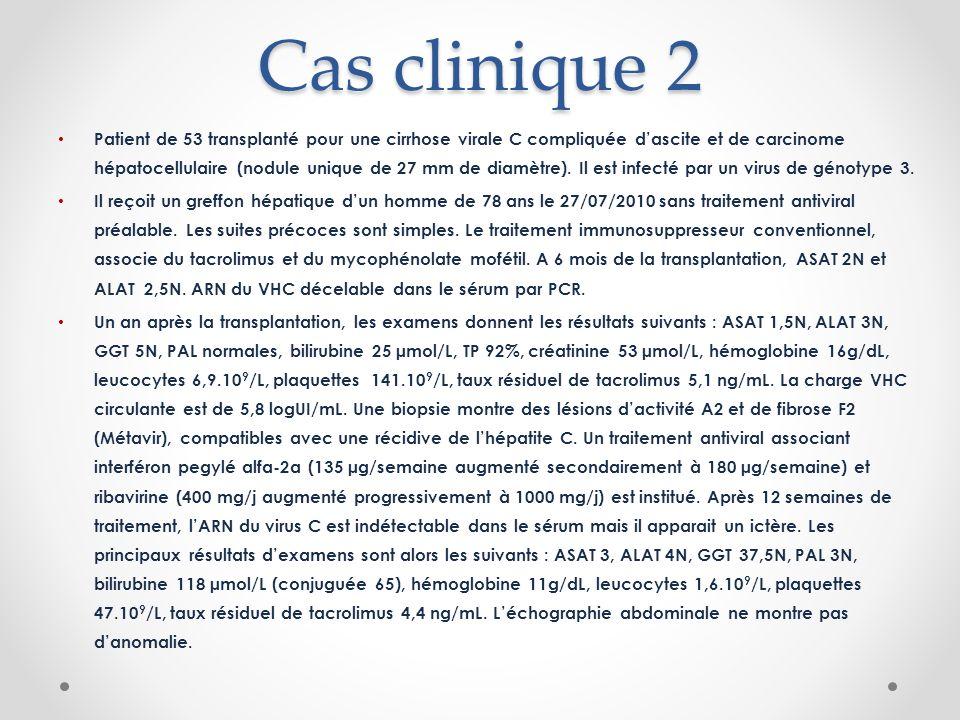 Cas clinique 2 Patient de 53 transplanté pour une cirrhose virale C compliquée dascite et de carcinome hépatocellulaire (nodule unique de 27 mm de diamètre).