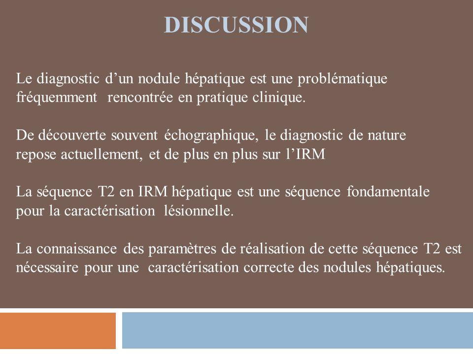 DISCUSSION Le diagnostic dun nodule hépatique est une problématique fréquemment rencontrée en pratique clinique.