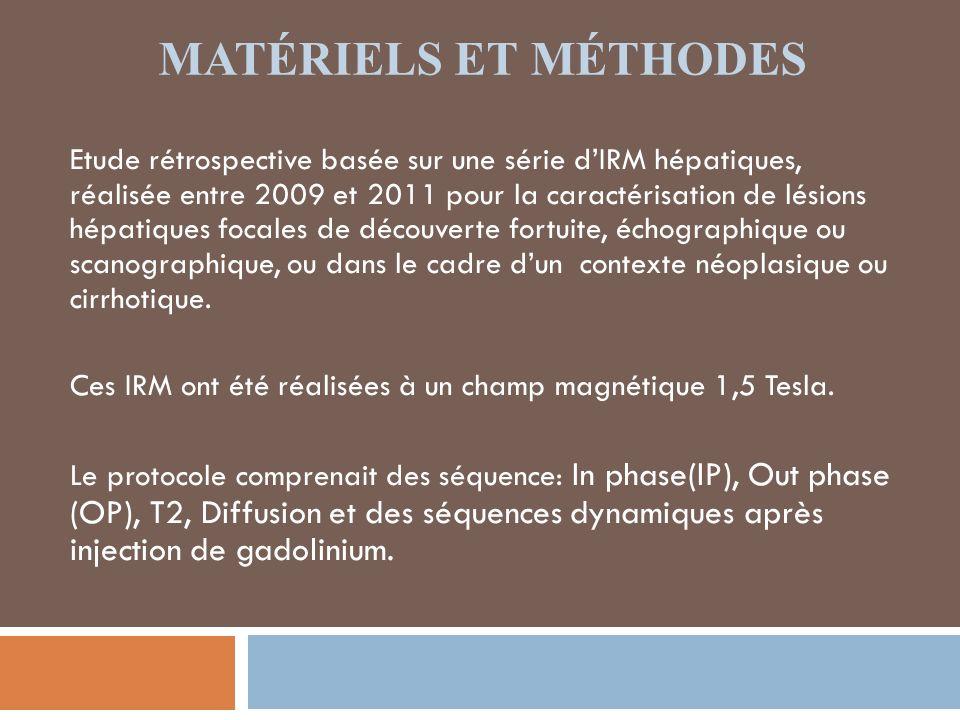 RÉSULTATS Les principales étiologies des nodules hépatiques en hypersignal T2 trouvées dans notre série étaient: *Kyste biliaire ( Fig.1) *Angiome (Fig.2) *Métastases hépatiques (Fig.3) *Carcinome hépato-cellulaire (Fig.4)