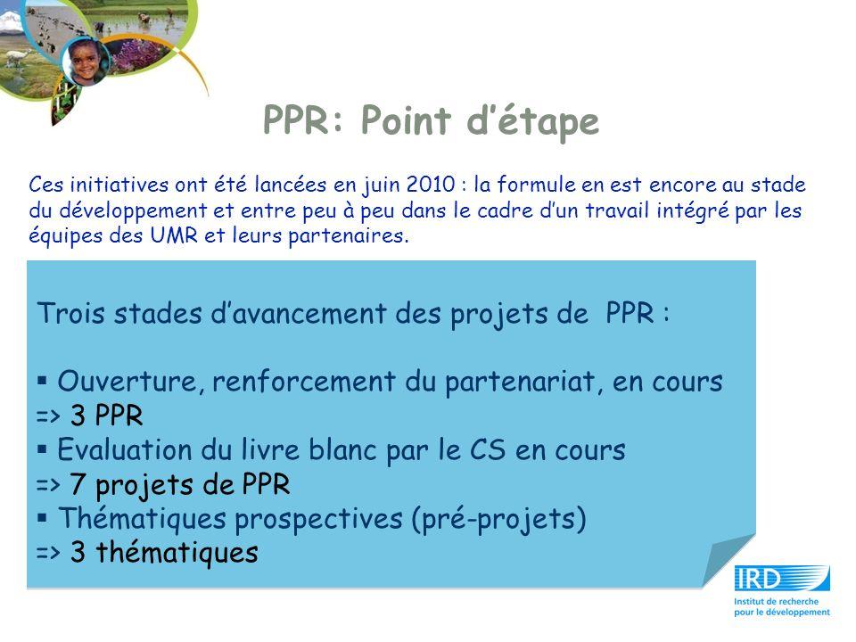 PPR: Point détape Ces initiatives ont été lancées en juin 2010 : la formule en est encore au stade du développement et entre peu à peu dans le cadre d