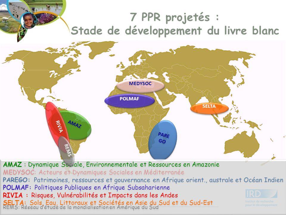 PARE GO POLMAF AMAZ RIVIA SELTA MEDYSOC 7 PPR projetés : Stade de développement du livre blanc AMAZ : Dynamique Sociale, Environnementale et Ressource