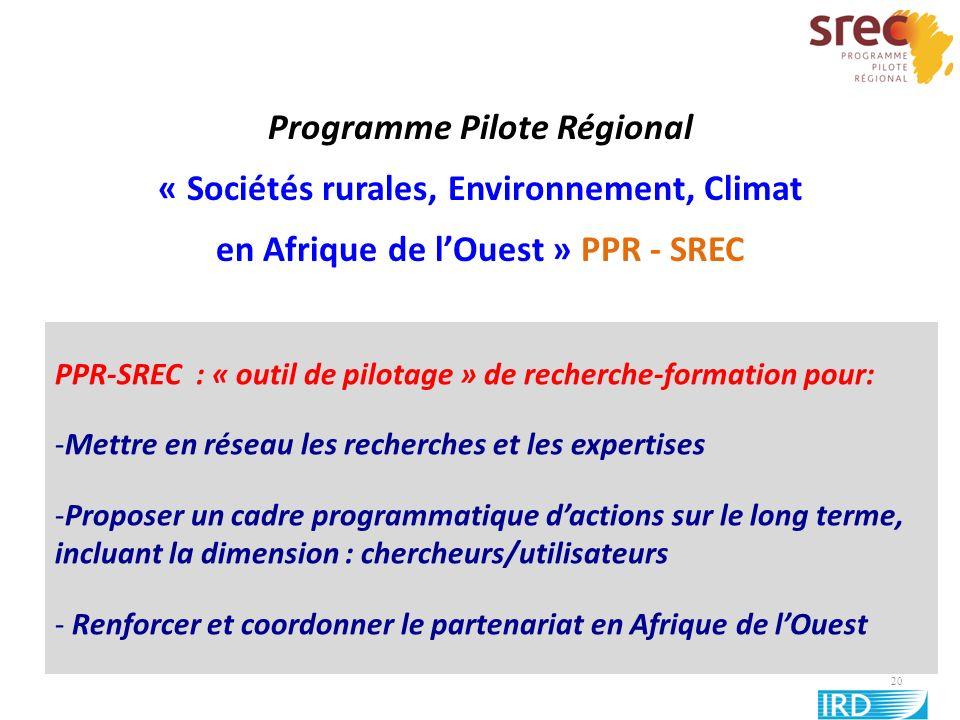 20 Programme Pilote Régional « Sociétés rurales, Environnement, Climat en Afrique de lOuest » PPR - SREC PPR-SREC : « outil de pilotage » de recherche
