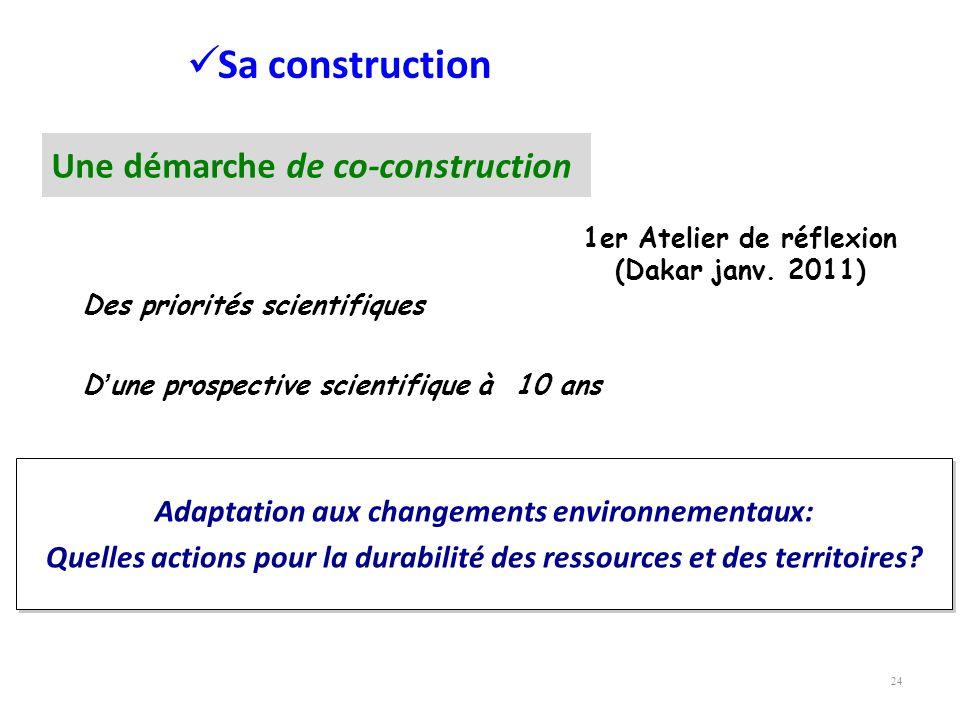 24 Sa construction Des priorités scientifiques Dune prospective scientifique à 10 ans Adaptation aux changements environnementaux: Quelles actions pou