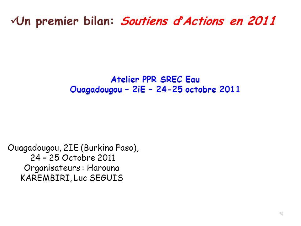 28 Atelier PPR SREC Eau Ouagadougou – 2iE – 24-25 octobre 2011 Ouagadougou, 2IE (Burkina Faso), 24 – 25 Octobre 2011 Organisateurs : Harouna KAREMBIRI