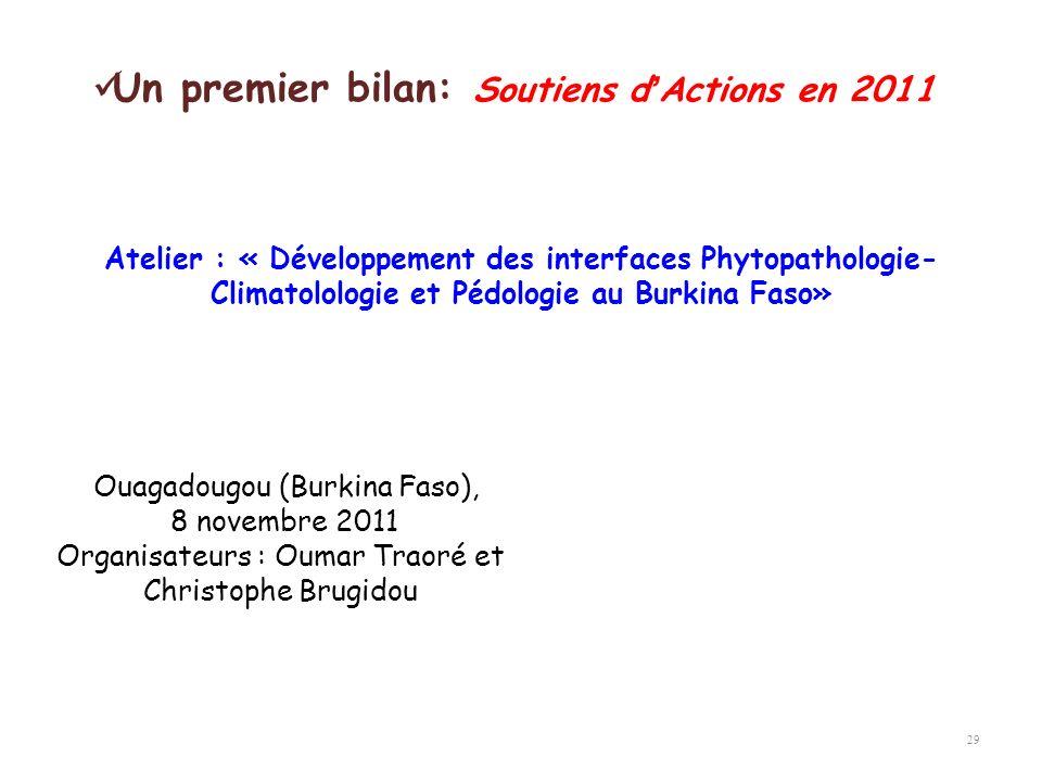 29 Atelier : « Développement des interfaces Phytopathologie- Climatolologie et Pédologie au Burkina Faso» Un premier bilan: Soutiens dActions en 2011