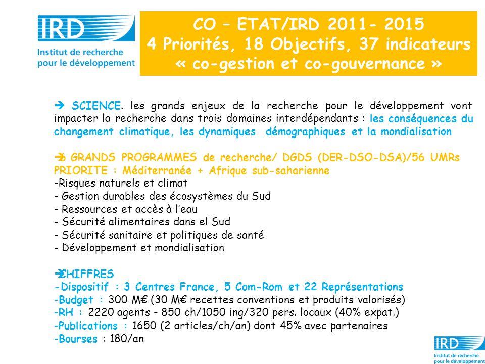 CO – ETAT/IRD 2011- 2015 4 Priorités, 18 Objectifs, 37 indicateurs « co-gestion et co-gouvernance » SCIENCE. les grands enjeux de la recherche pour le