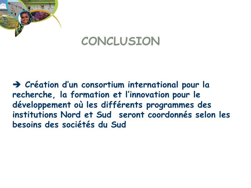 CONCLUSION Création dun consortium international pour la recherche, la formation et linnovation pour le développement où les différents programmes des