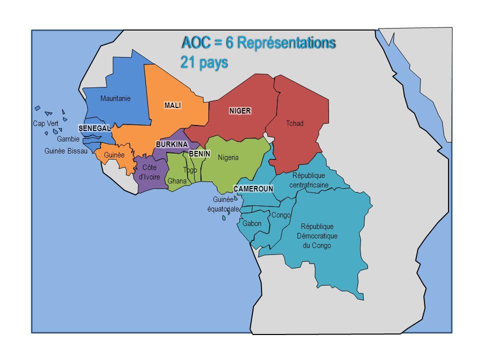 aaa Mauritanie Gambie Cap Vert Guinée Bissau Ghana Nigeria Togo Côte dIvoire Congo Gabon Guinée équatoriale République centrafricaine République Démoc