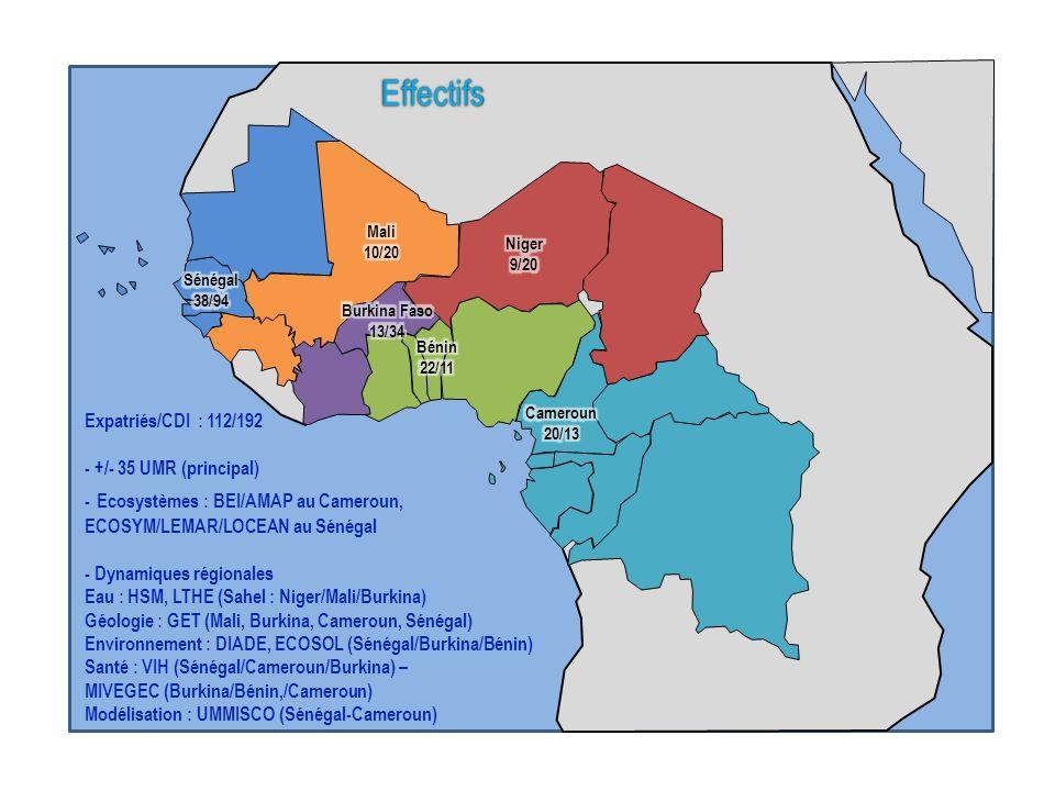 ii cccccccccc Expatriés/CDI : 112/192 - +/- 35 UMR (principal) - Ecosystèmes : BEI/AMAP au Cameroun, ECOSYM/LEMAR/LOCEAN au Sénégal - Dynamiques régio