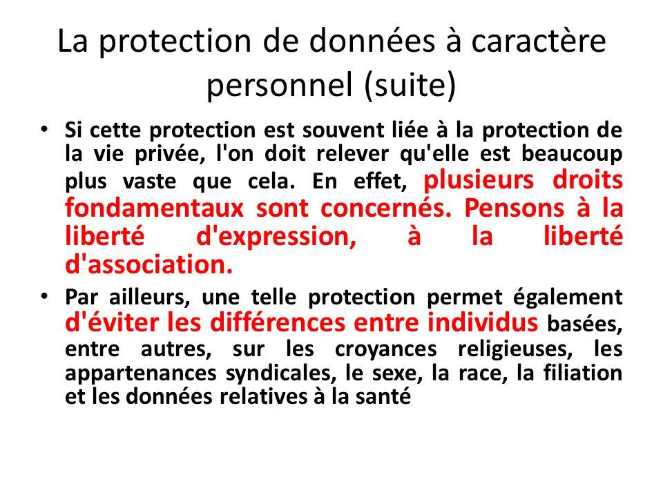La protection de données à caractère personnel (suite) Si cette protection est souvent liée à la protection de la vie privée, l on doit relever qu elle est beaucoup plus vaste que cela.