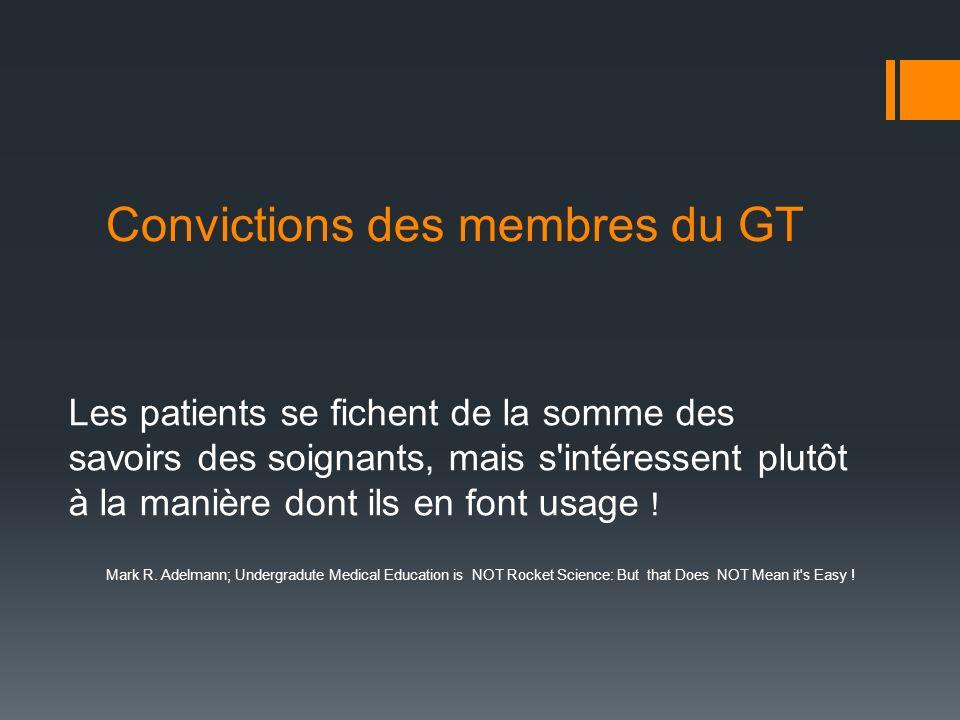 Convictions des membres du GT Les patients se fichent de la somme des savoirs des soignants, mais s'intéressent plutôt à la manière dont ils en font u