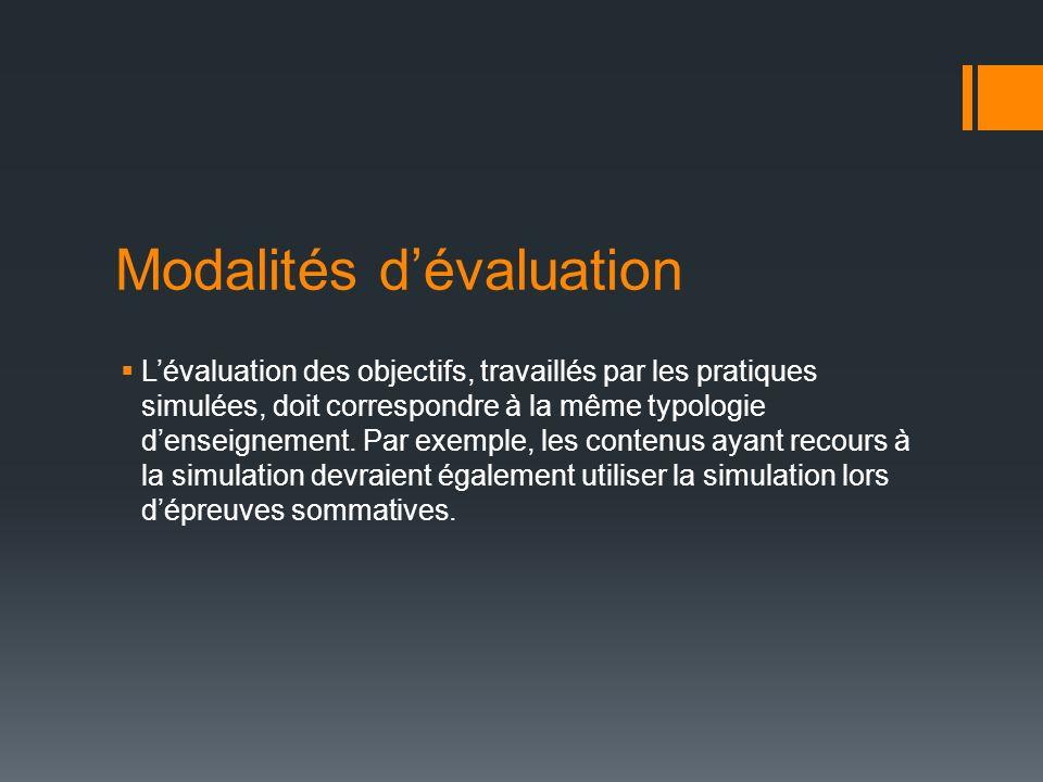 Modalités dévaluation Lévaluation des objectifs, travaillés par les pratiques simulées, doit correspondre à la même typologie denseignement. Par exemp