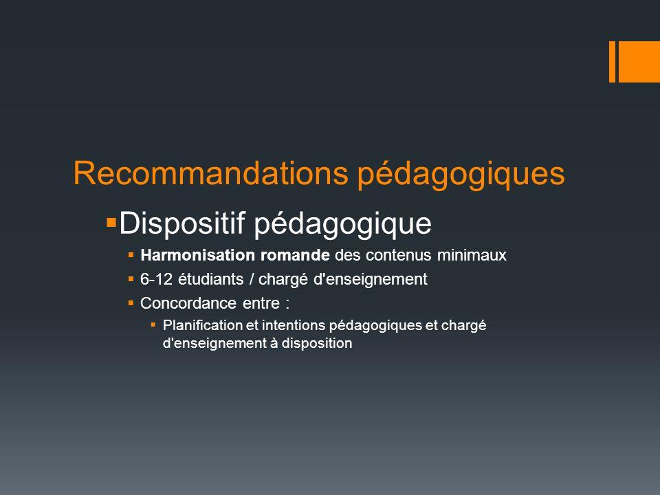 Recommandations pédagogiques Dispositif pédagogique Harmonisation romande des contenus minimaux 6-12 étudiants / chargé d'enseignement Concordance ent