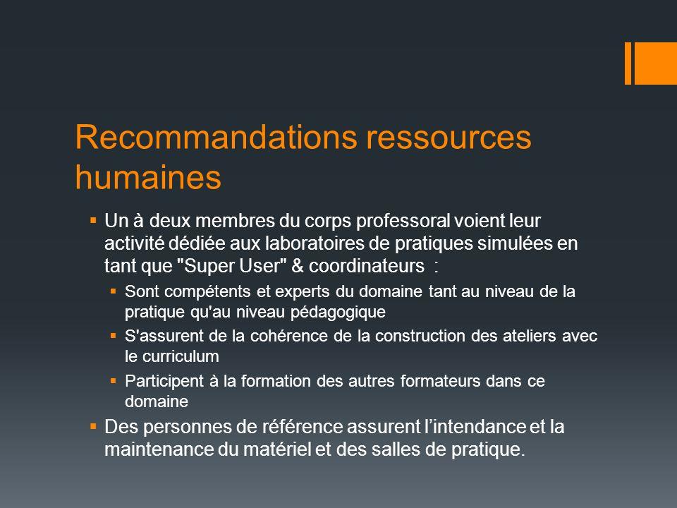Recommandations ressources humaines Un à deux membres du corps professoral voient leur activité dédiée aux laboratoires de pratiques simulées en tant