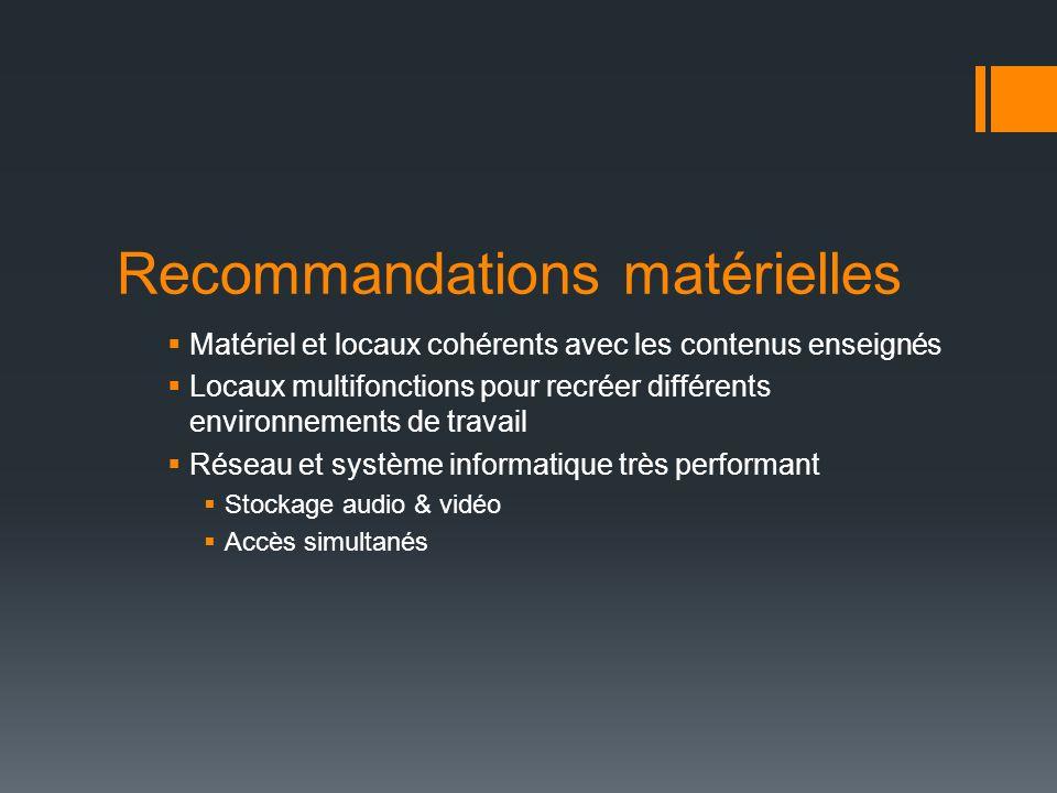 Recommandations matérielles Matériel et locaux cohérents avec les contenus enseignés Locaux multifonctions pour recréer différents environnements de t