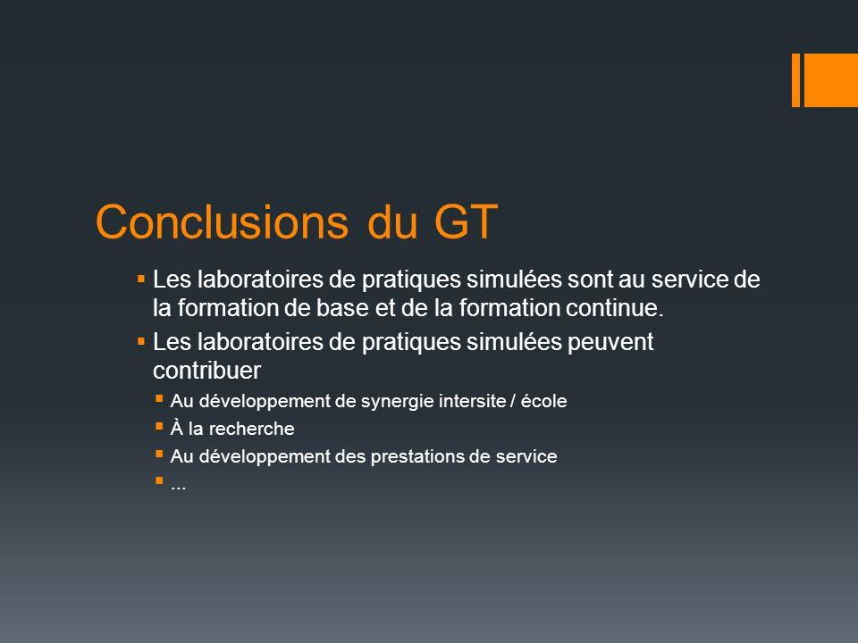 Conclusions du GT Les laboratoires de pratiques simulées sont au service de la formation de base et de la formation continue. Les laboratoires de prat