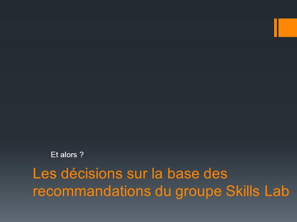 Les décisions sur la base des recommandations du groupe Skills Lab Et alors ?