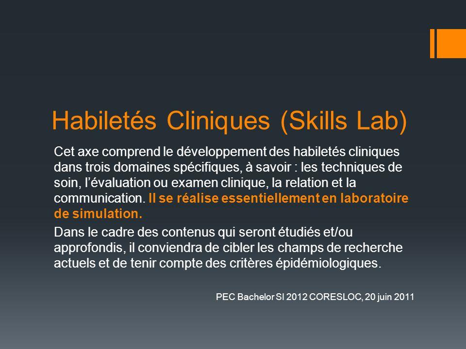 Habiletés Cliniques (Skills Lab) Cet axe comprend le développement des habiletés cliniques dans trois domaines spécifiques, à savoir : les techniques