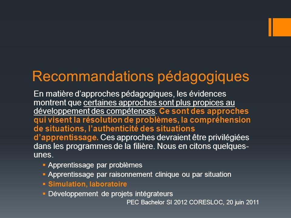 Recommandations pédagogiques En matière dapproches pédagogiques, les évidences montrent que certaines approches sont plus propices au développement de