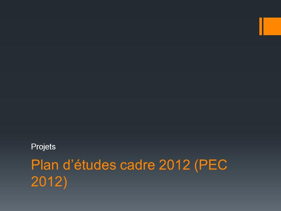 Plan détudes cadre 2012 (PEC 2012) Projets