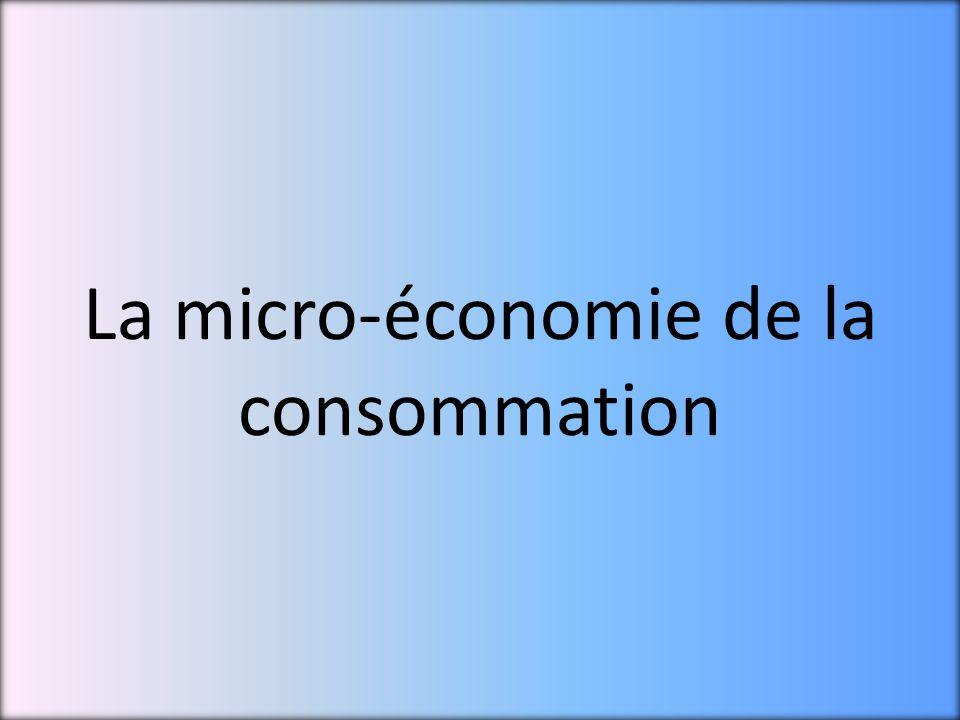 La micro-économie de la consommation
