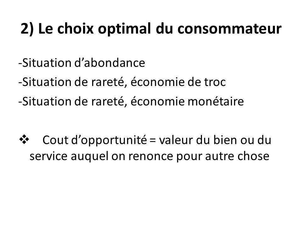 2) Le choix optimal du consommateur -Situation dabondance -Situation de rareté, économie de troc -Situation de rareté, économie monétaire Cout dopportunité = valeur du bien ou du service auquel on renonce pour autre chose