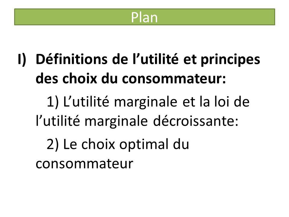 Plan I)Définitions de lutilité et principes des choix du consommateur: 1) Lutilité marginale et la loi de lutilité marginale décroissante: 2) Le choix optimal du consommateur