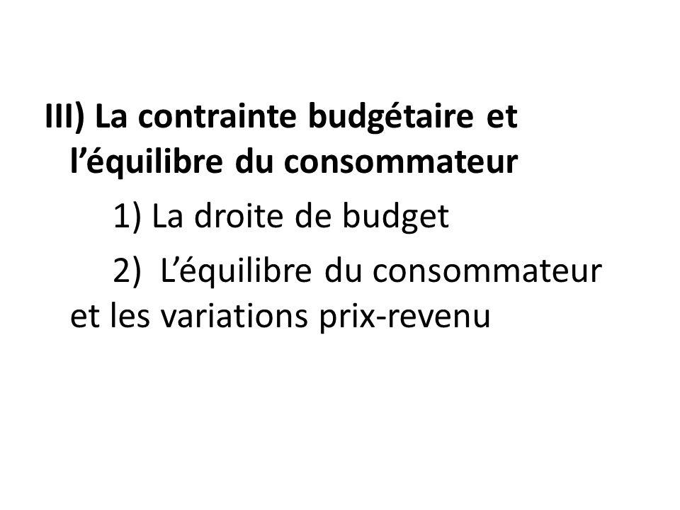 III) La contrainte budgétaire et léquilibre du consommateur 1) La droite de budget 2) Léquilibre du consommateur et les variations prix-revenu