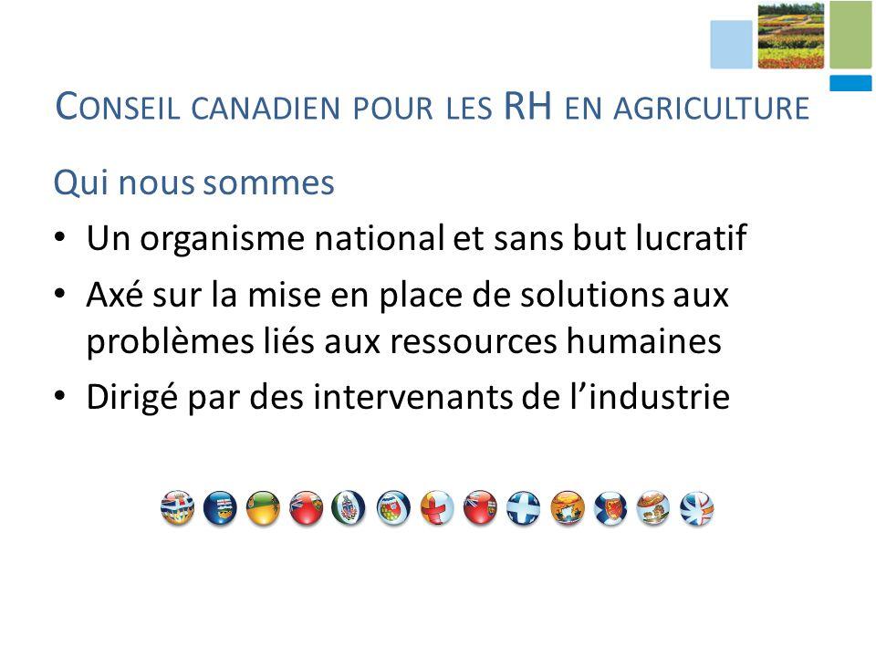 Qui nous sommes Un organisme national et sans but lucratif Axé sur la mise en place de solutions aux problèmes liés aux ressources humaines Dirigé par des intervenants de lindustrie C ONSEIL CANADIEN POUR LES RH EN AGRICULTURE