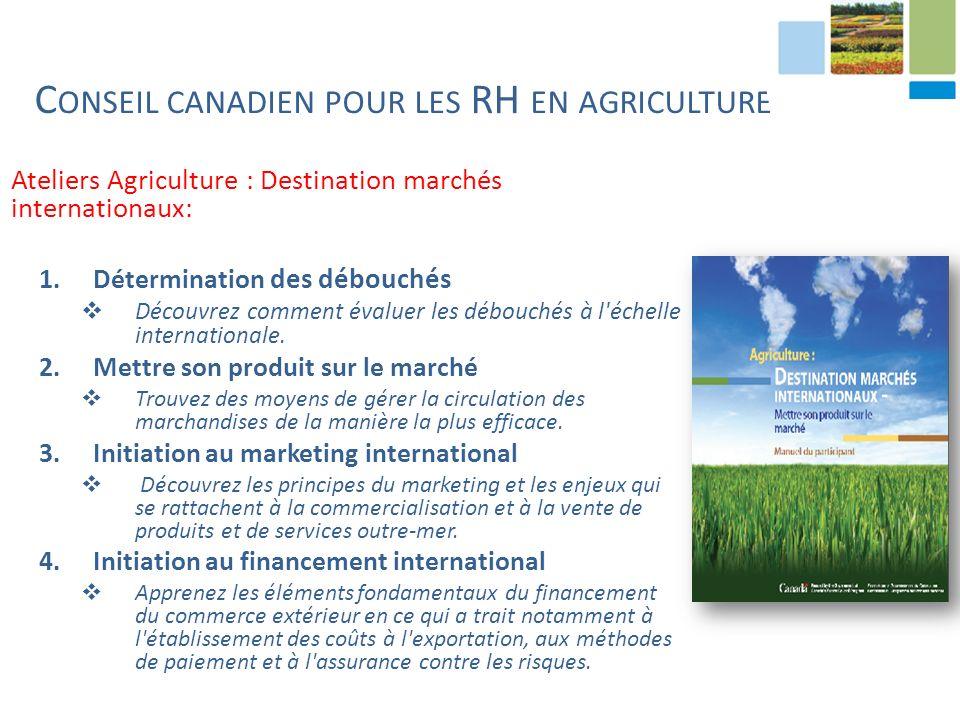 Ateliers Agriculture : Destination marchés internationaux: 1.Détermination des débouchés Découvrez comment évaluer les débouchés à l échelle internationale.