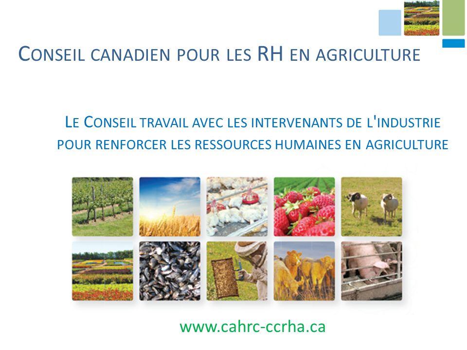 C ONSEIL CANADIEN POUR LES RH EN AGRICULTURE L E C ONSEIL TRAVAIL AVEC LES INTERVENANTS DE L INDUSTRIE POUR RENFORCER LES RESSOURCES HUMAINES EN AGRICULTURE www.cahrc-ccrha.ca
