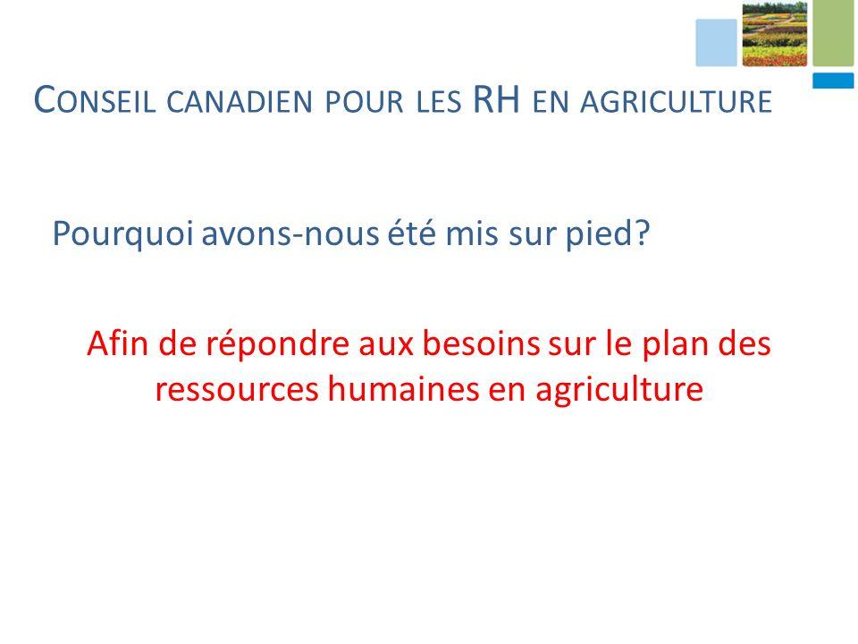C ONSEIL CANADIEN POUR LES RH EN AGRICULTURE Pourquoi avons-nous été mis sur pied.