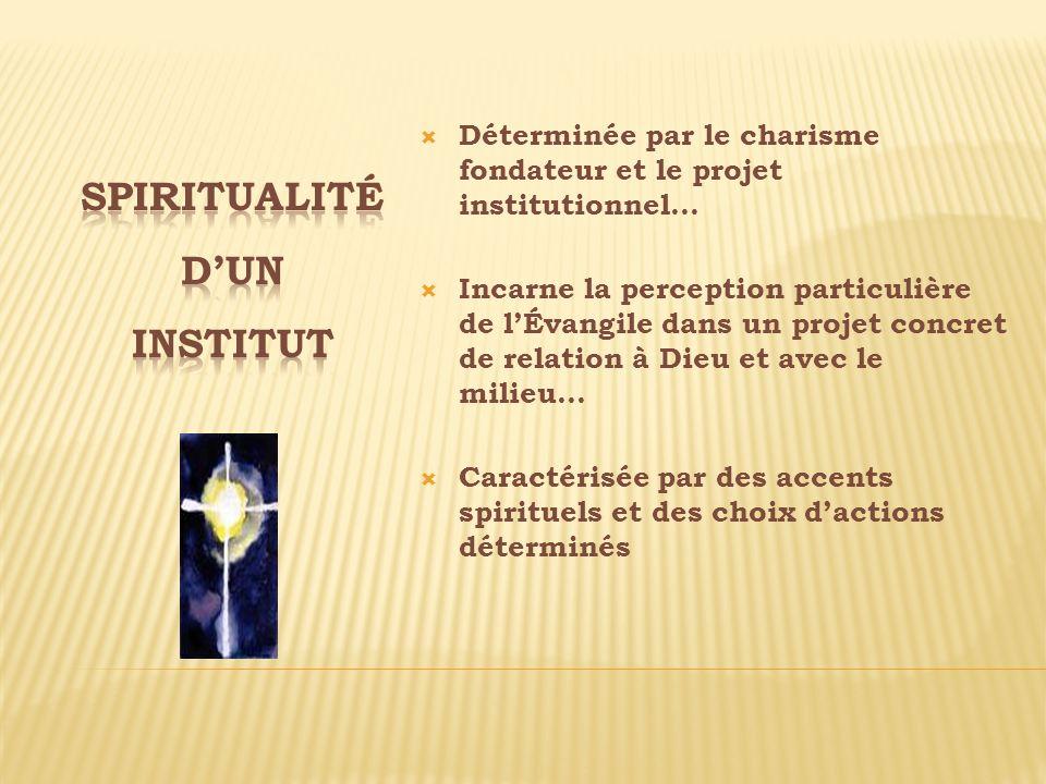 Déterminée par le charisme fondateur et le projet institutionnel… Incarne la perception particulière de lÉvangile dans un projet concret de relation à
