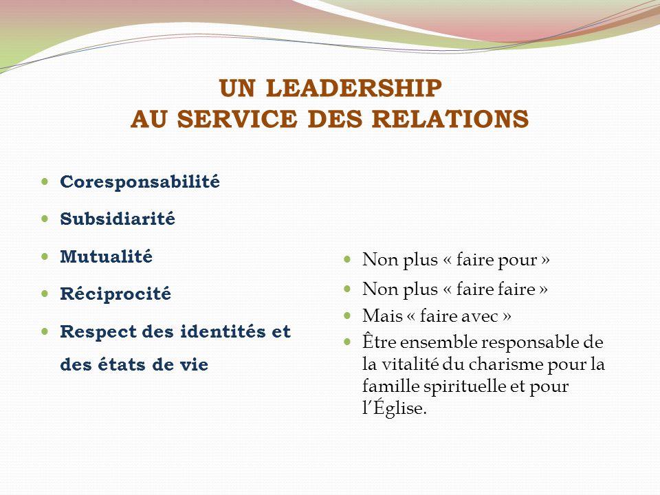 UN LEADERSHIP AU SERVICE DES RELATIONS Coresponsabilité Subsidiarité Mutualité Réciprocité Respect des identités et des états de vie Non plus « faire
