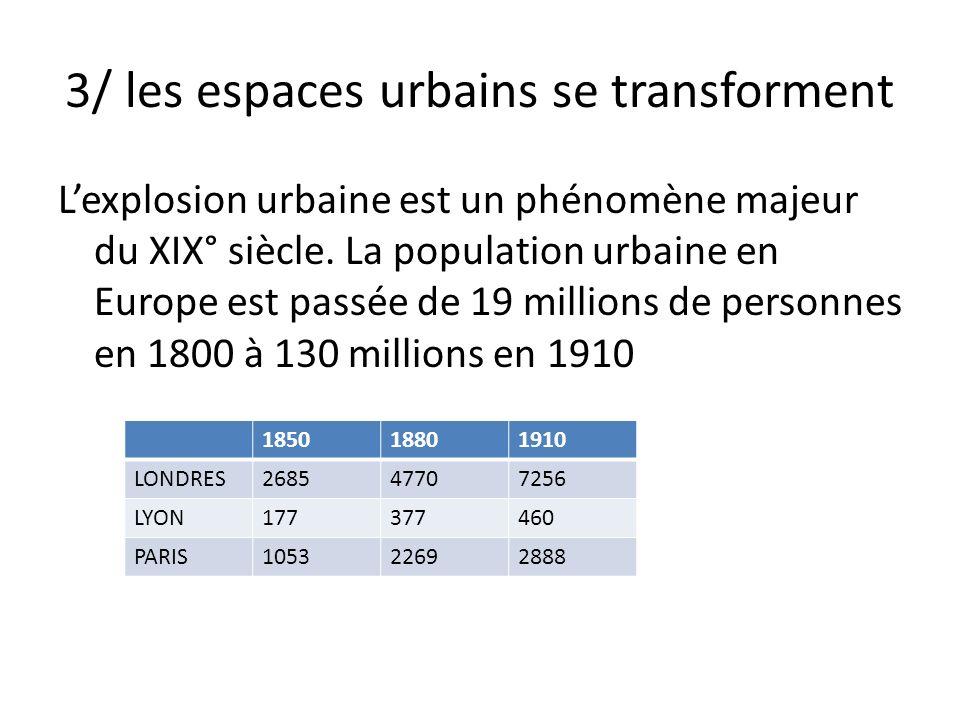 3/ les espaces urbains se transforment Lexplosion urbaine est un phénomène majeur du XIX° siècle.
